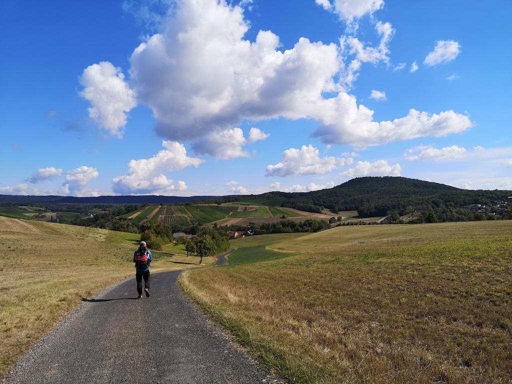 Blauer Himmel auf den Weg nach Michelau im Steigerwald