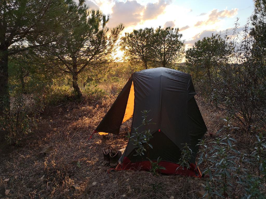 Sonnenuntergang im Zelt