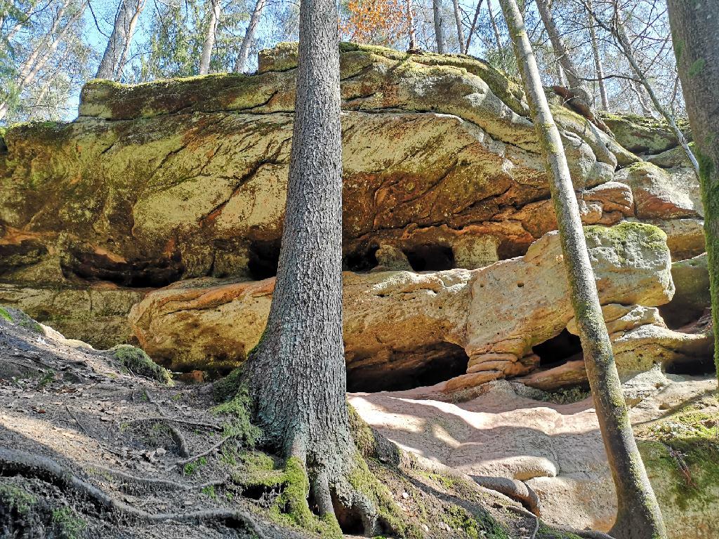 Bizarre Felsformationen des bunten Sandsteins