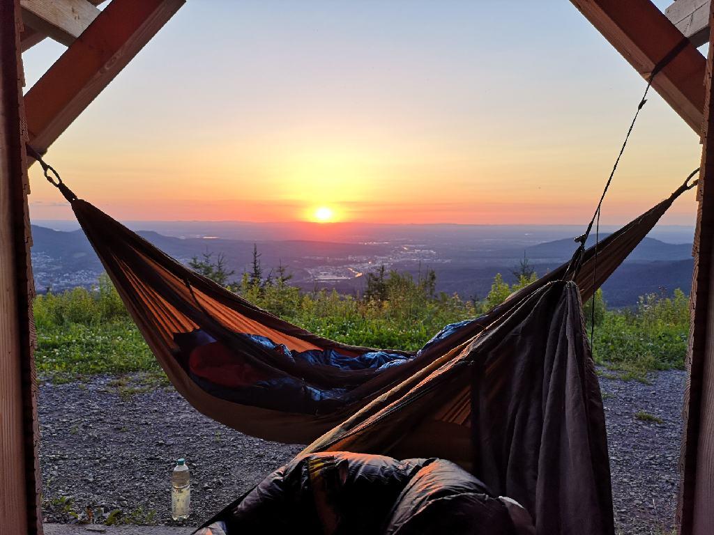 Sonnenuntergang an der Michelsrank-Hütte